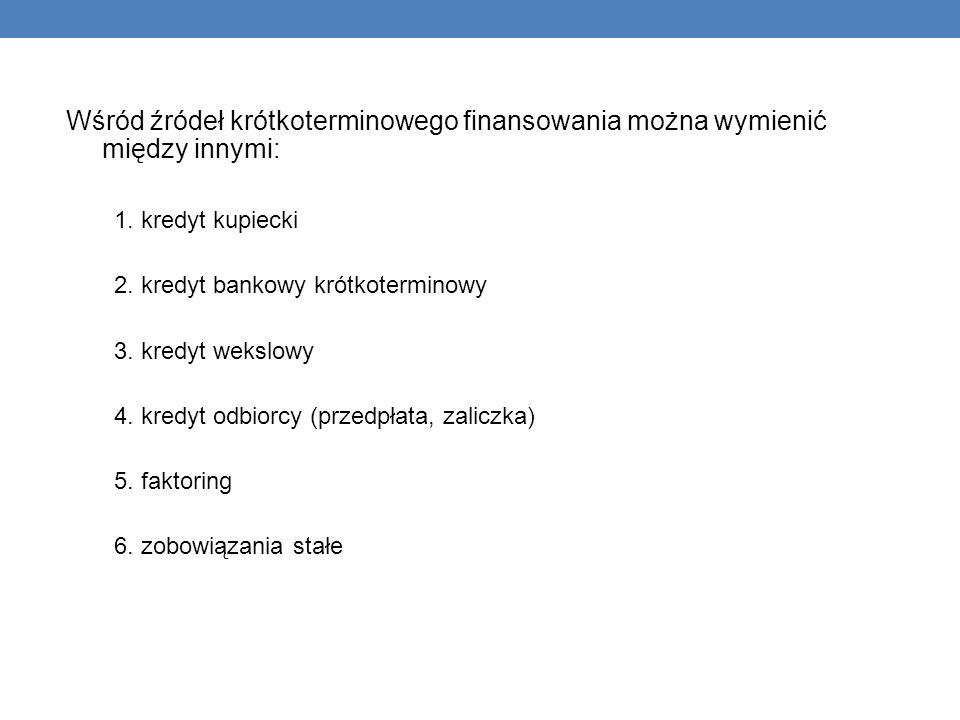 Wśród źródeł krótkoterminowego finansowania można wymienić między innymi: