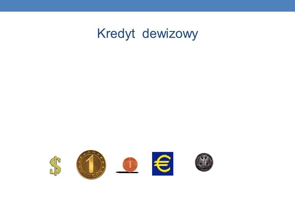 Kredyt dewizowy Kredyt dewizowy - udzielany jest m.in. w: dolarach, euro, funtach brytyjskich, frankach szwajcarskich.