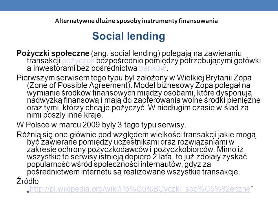 Alternatywne dłużne sposoby instrumenty finansowania