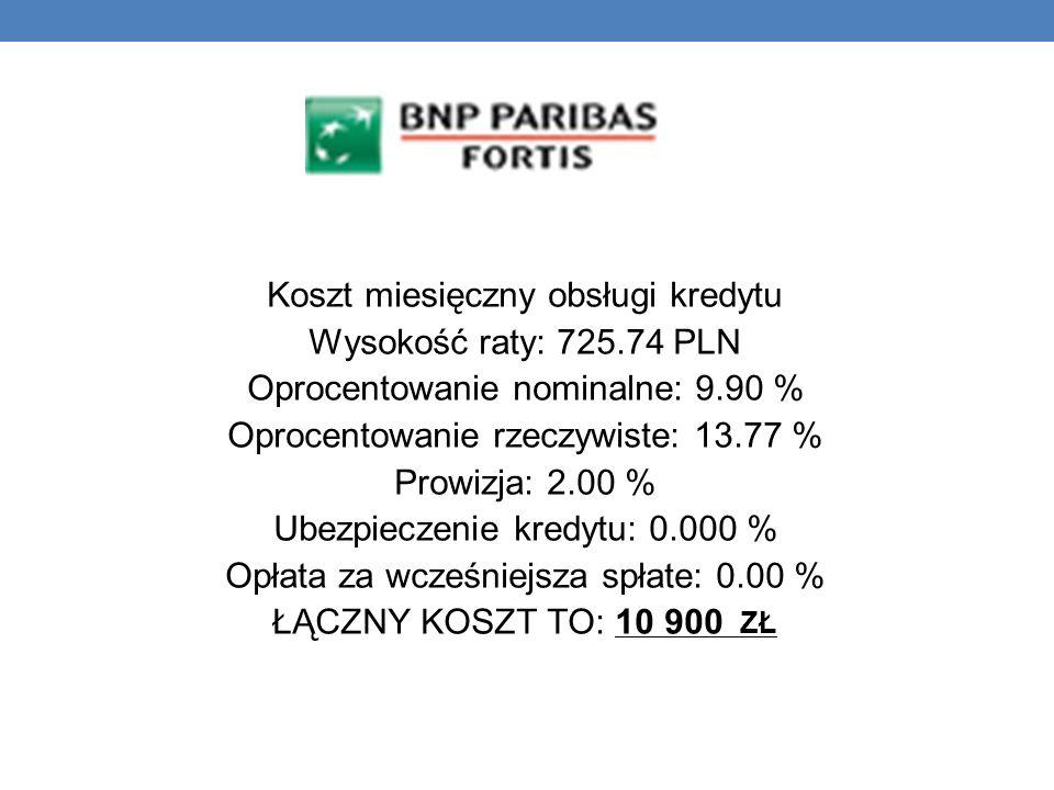 Koszt miesięczny obsługi kredytu Wysokość raty: 725.74 PLN
