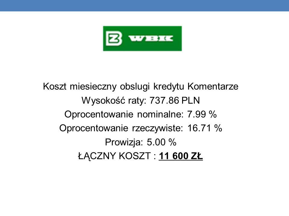 Koszt miesieczny obslugi kredytu Komentarze Wysokość raty: 737.86 PLN