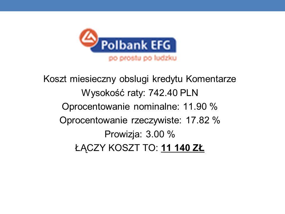 Koszt miesieczny obslugi kredytu Komentarze Wysokość raty: 742.40 PLN