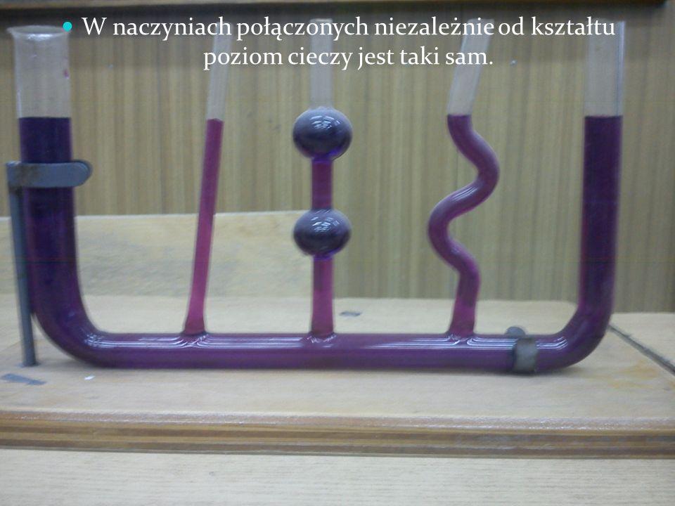 W naczyniach połączonych niezależnie od kształtu poziom cieczy jest taki sam.