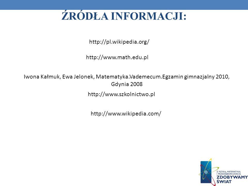 ŹRÓDŁA INFORMACJI: http://pl.wikipedia.org/ http://www.math.edu.pl