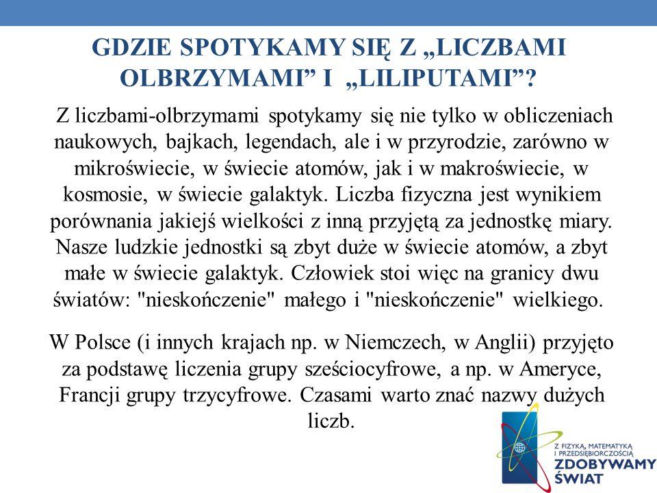 """GDZIE SPOTYKAMY SIĘ Z """"LICZBAMI OLBRZYMAMI I """"LILIPUTAMI"""