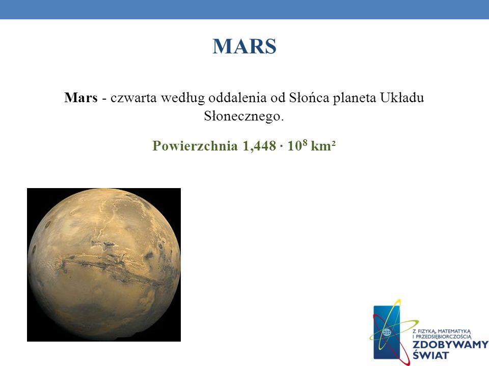 Mars - czwarta według oddalenia od Słońca planeta Układu Słonecznego.