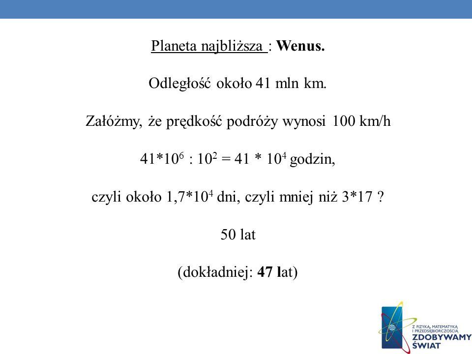 Planeta najbliższa : Wenus. Odległość około 41 mln km.