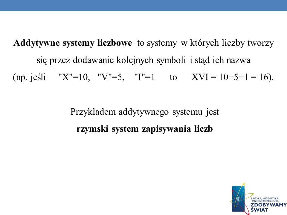 (np. jeśli X =10, V =5, I =1 to XVI = 10+5+1 = 16).