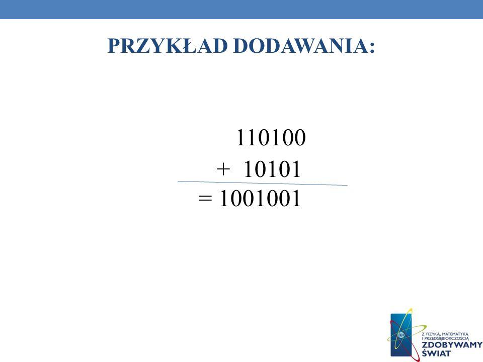 PRZYKŁAD DODAWANIA: 110100 + 10101 = 1001001 91