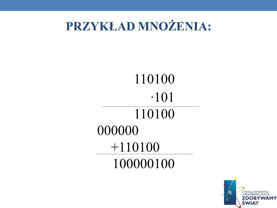 PRZYKŁAD MNOŻENIA: 110100 ∙101 000000 +110100 100000100 93