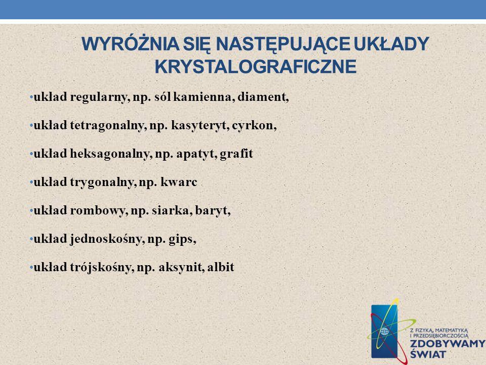 Wyróżnia się następujące układy krystalograficzne