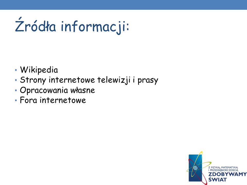 Źródła informacji: Wikipedia Strony internetowe telewizji i prasy