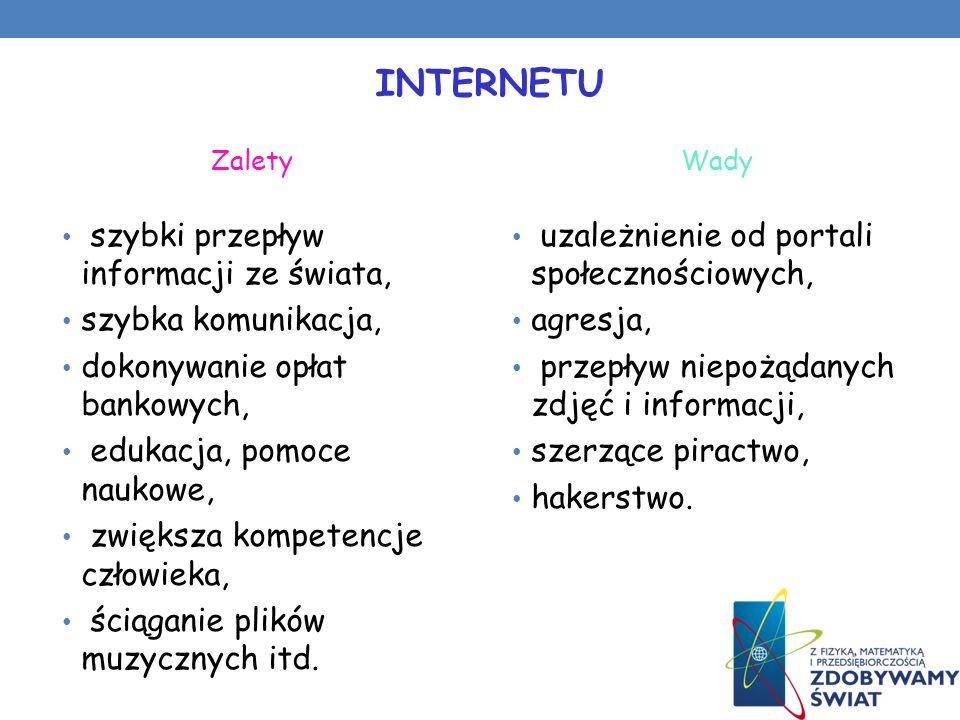 INTERNETU szybki przepływ informacji ze świata, szybka komunikacja,