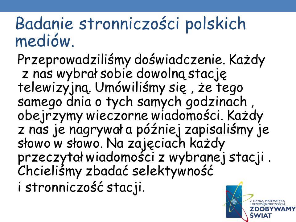 Badanie stronniczości polskich mediów.