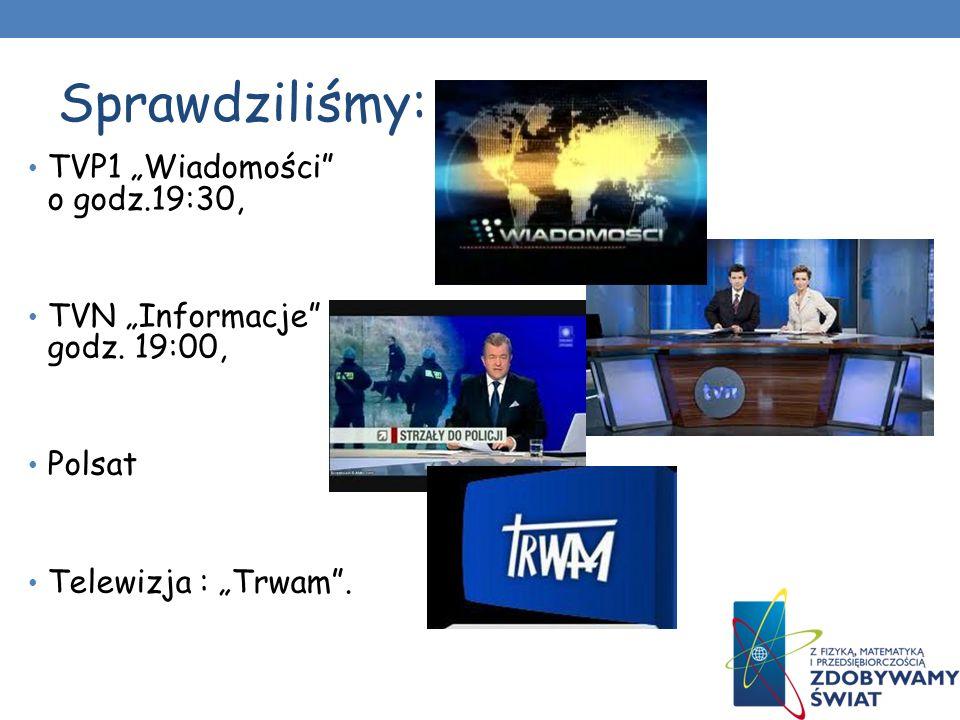 """Sprawdziliśmy: TVP1 """"Wiadomości o godz.19:30,"""