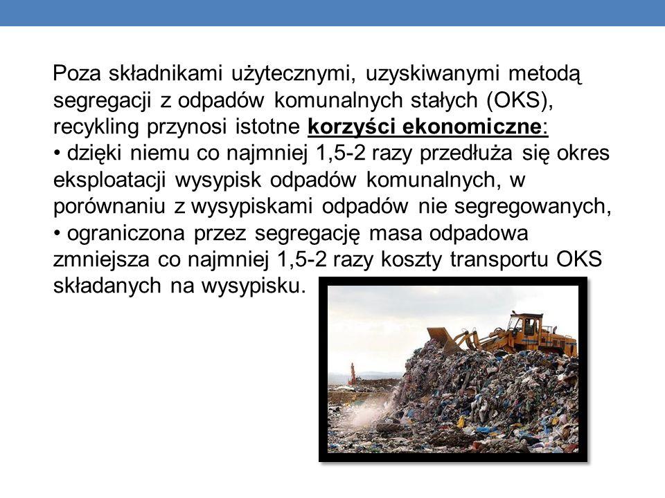 Poza składnikami użytecznymi, uzyskiwanymi metodą segregacji z odpadów komunalnych stałych (OKS), recykling przynosi istotne korzyści ekonomiczne: • dzięki niemu co najmniej 1,5-2 razy przedłuża się okres eksploatacji wysypisk odpadów komunalnych, w porównaniu z wysypiskami odpadów nie segregowanych, • ograniczona przez segregację masa odpadowa zmniejsza co najmniej 1,5-2 razy koszty transportu OKS składanych na wysypisku.