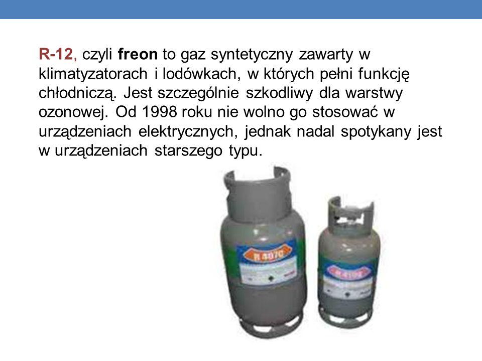 R-12, czyli freon to gaz syntetyczny zawarty w klimatyzatorach i lodówkach, w których pełni funkcję chłodniczą.