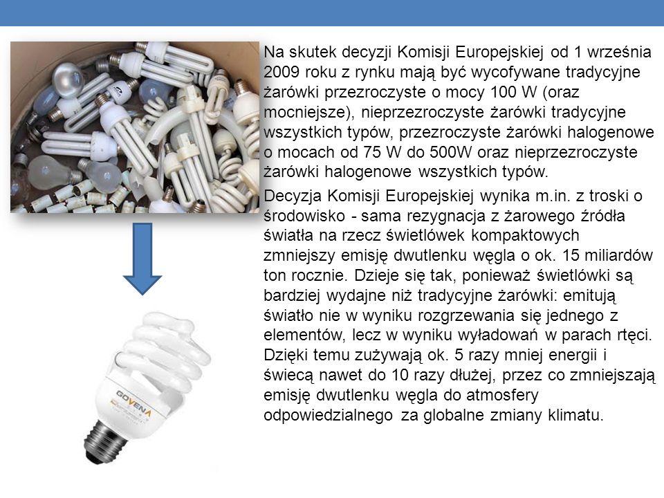 Na skutek decyzji Komisji Europejskiej od 1 września 2009 roku z rynku mają być wycofywane tradycyjne żarówki przezroczyste o mocy 100 W (oraz mocniejsze), nieprzezroczyste żarówki tradycyjne wszystkich typów, przezroczyste żarówki halogenowe o mocach od 75 W do 500W oraz nieprzezroczyste żarówki halogenowe wszystkich typów.