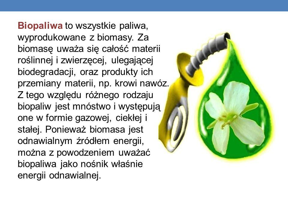 Biopaliwa to wszystkie paliwa, wyprodukowane z biomasy