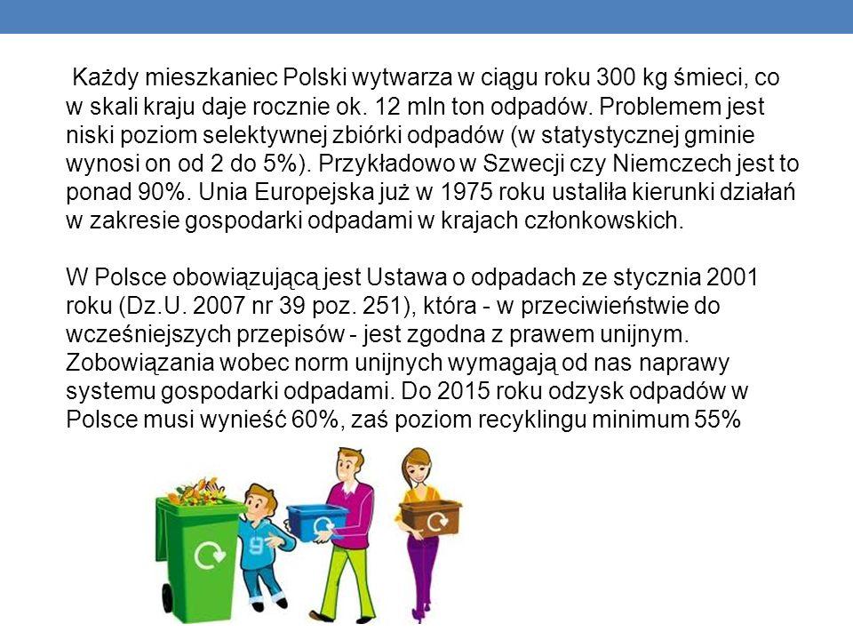 Każdy mieszkaniec Polski wytwarza w ciągu roku 300 kg śmieci, co w skali kraju daje rocznie ok.