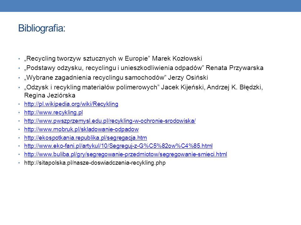 """Bibliografia: """"Recycling tworzyw sztucznych w Europie Marek Kozłowski"""