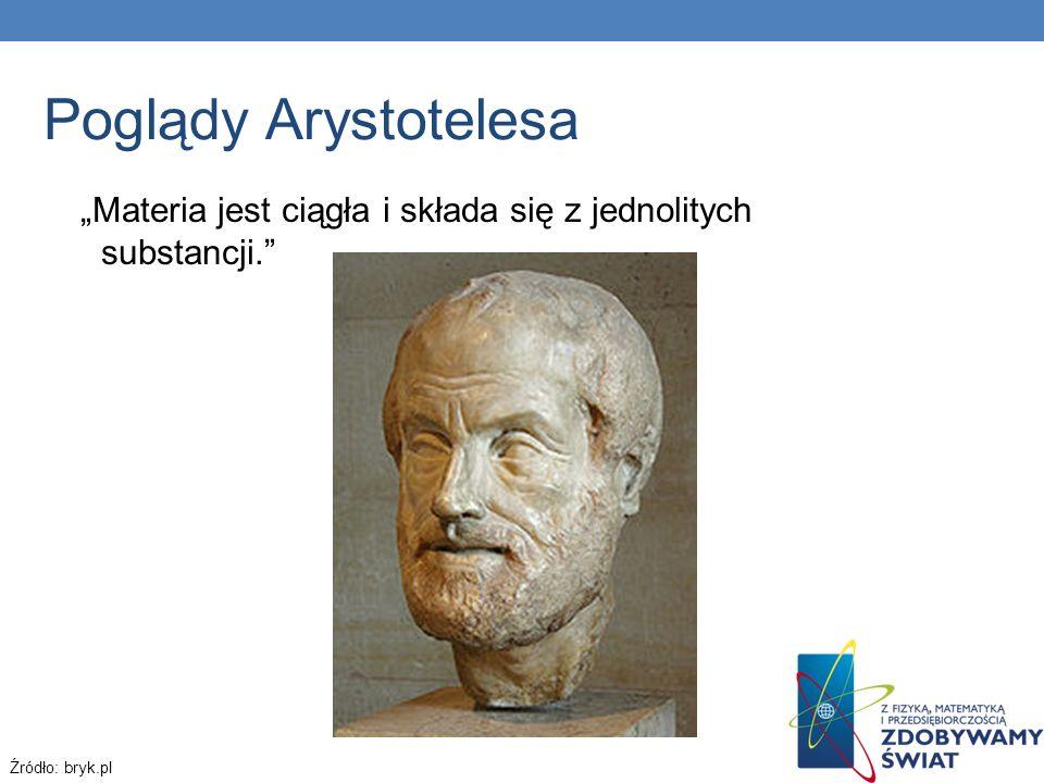 """Poglądy Arystotelesa """"Materia jest ciągła i składa się z jednolitych substancji. Źródło: bryk.pl"""