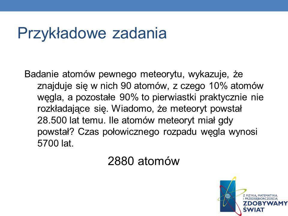 Przykładowe zadania 2880 atomów