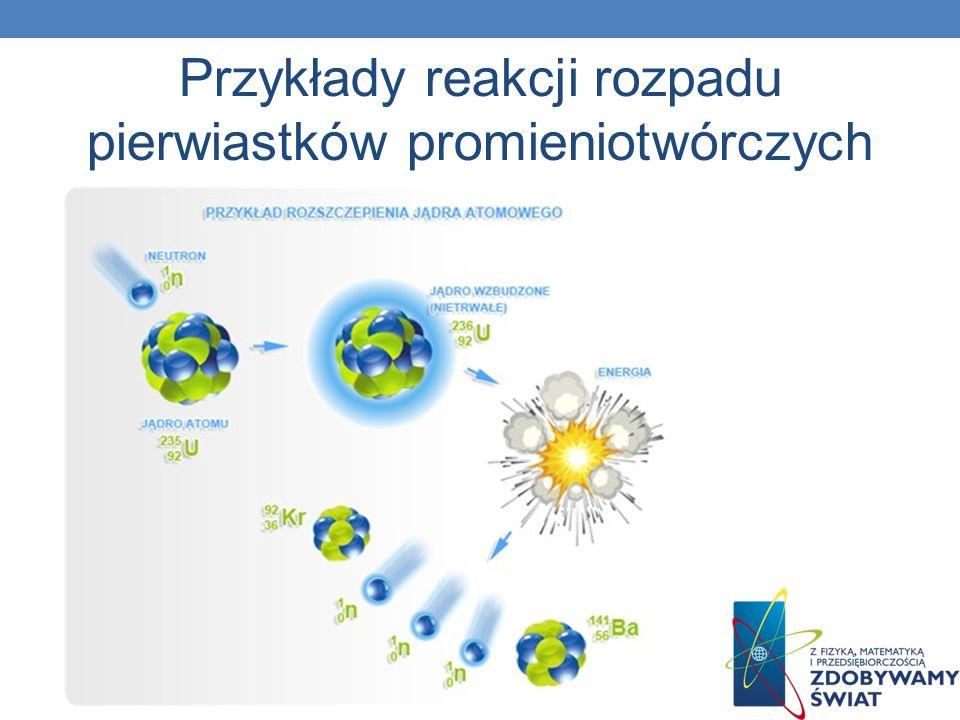 Przykłady reakcji rozpadu pierwiastków promieniotwórczych