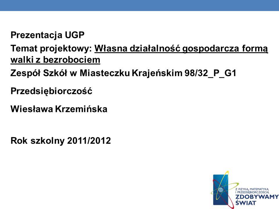 Prezentacja UGP Temat projektowy: Własna działalność gospodarcza formą walki z bezrobociem Zespół Szkół w Miasteczku Krajeńskim 98/32_P_G1 Przedsiębiorczość Wiesława Krzemińska Rok szkolny 2011/2012