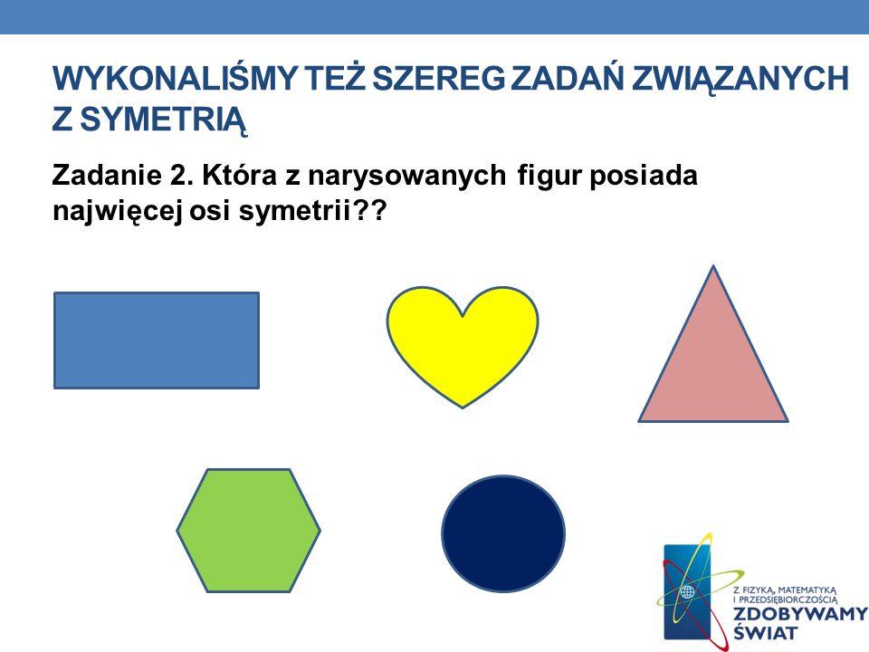 Wykonaliśmy też szereg zadań związanych z symetrią