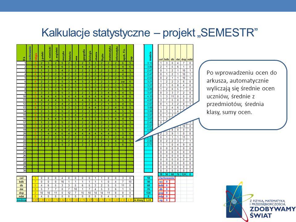 """Kalkulacje statystyczne – projekt """"SEMESTR"""