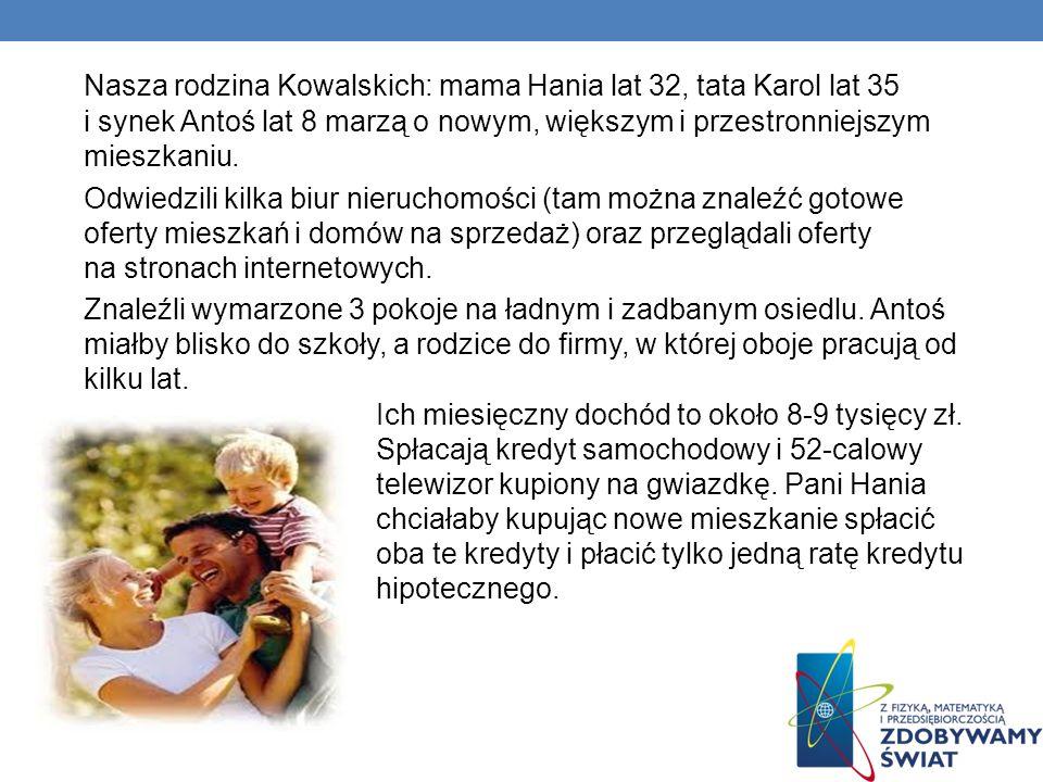 Nasza rodzina Kowalskich: mama Hania lat 32, tata Karol lat 35 i synek Antoś lat 8 marzą o nowym, większym i przestronniejszym mieszkaniu.