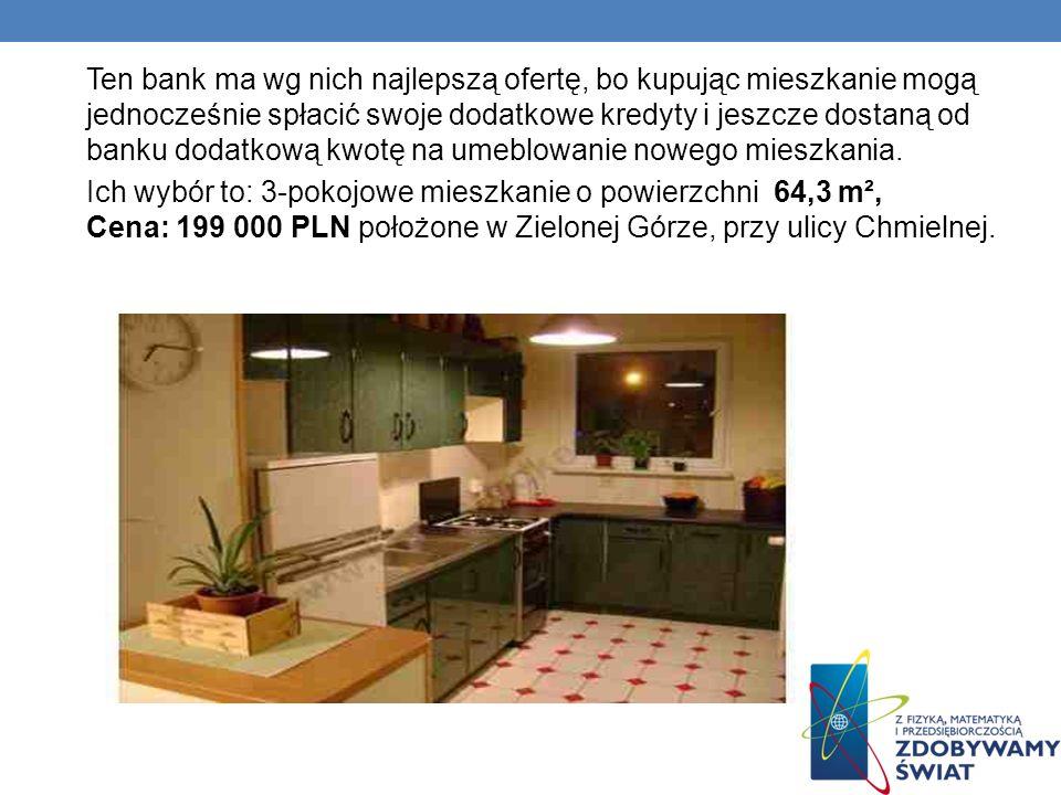 Ten bank ma wg nich najlepszą ofertę, bo kupując mieszkanie mogą jednocześnie spłacić swoje dodatkowe kredyty i jeszcze dostaną od banku dodatkową kwotę na umeblowanie nowego mieszkania.
