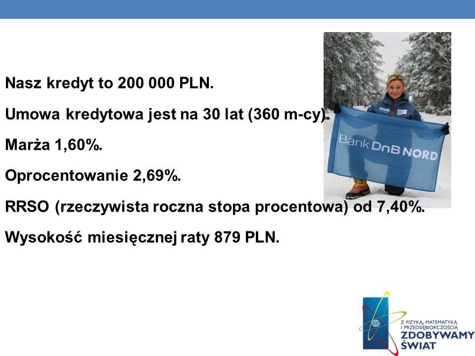 Nasz kredyt to 200 000 PLN. Umowa kredytowa jest na 30 lat (360 m-cy)