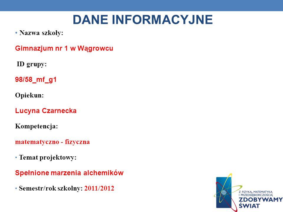 DANE INFORMACYJNE Nazwa szkoły: Gimnazjum nr 1 w Wągrowcu ID grupy: