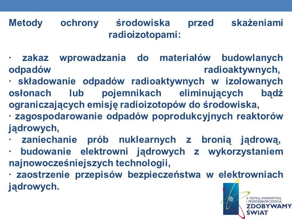 Metody ochrony środowiska przed skażeniami radioizotopami: