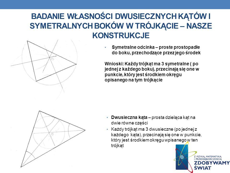 Badanie własności dwusiecznych kątów i symetralnych boków w trójkącie – nasze konstrukcje