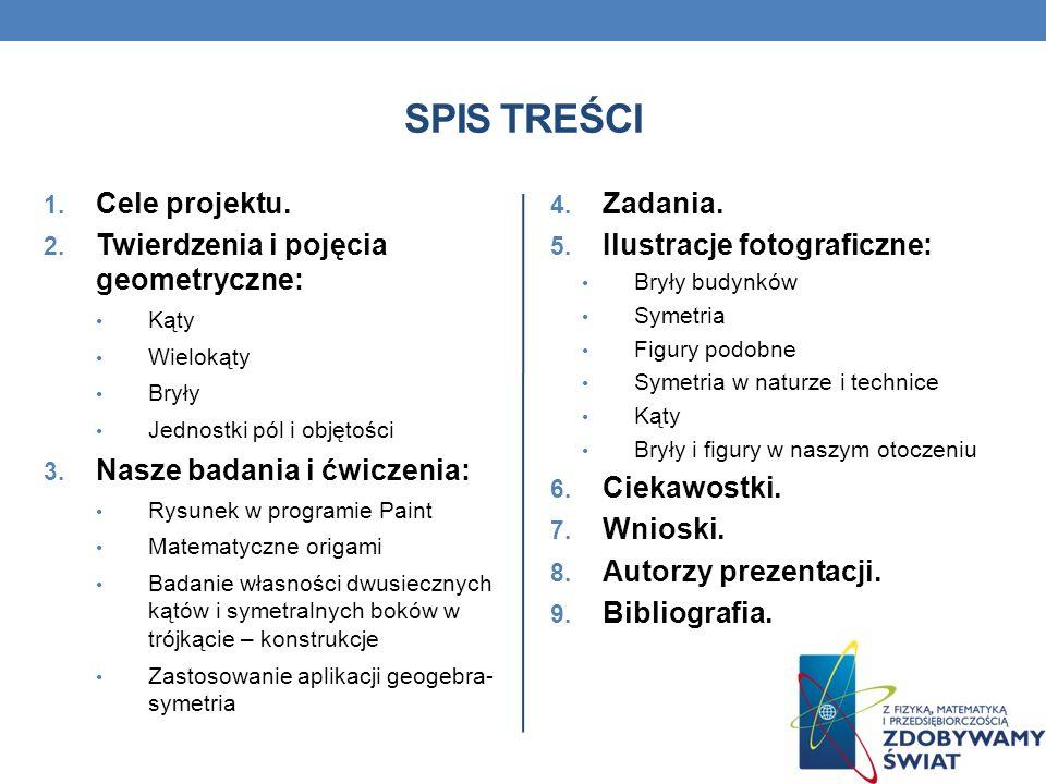 SPIS TREŚCI Cele projektu. Twierdzenia i pojęcia geometryczne: