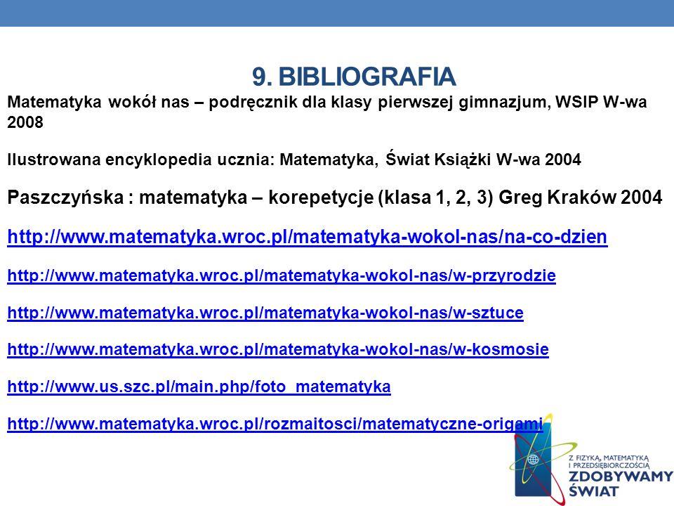 9. Bibliografia Matematyka wokół nas – podręcznik dla klasy pierwszej gimnazjum, WSIP W-wa 2008.