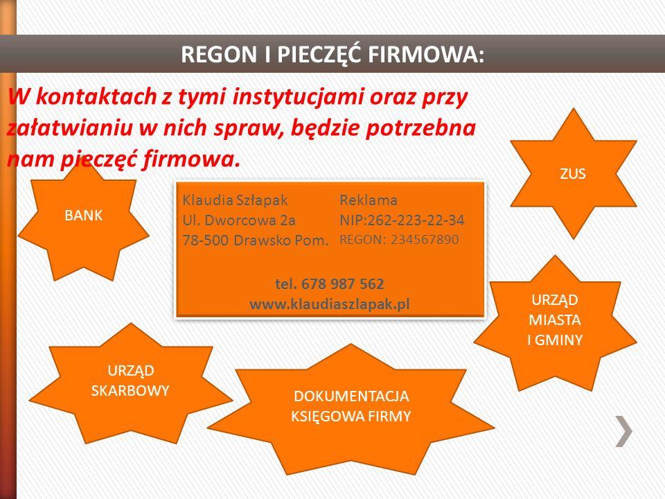 REGON I PIECZĘĆ FIRMOWA:
