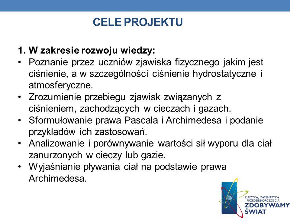 Cele projektu W zakresie rozwoju wiedzy: