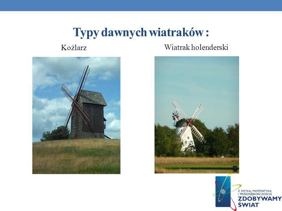 Typy dawnych wiatraków :