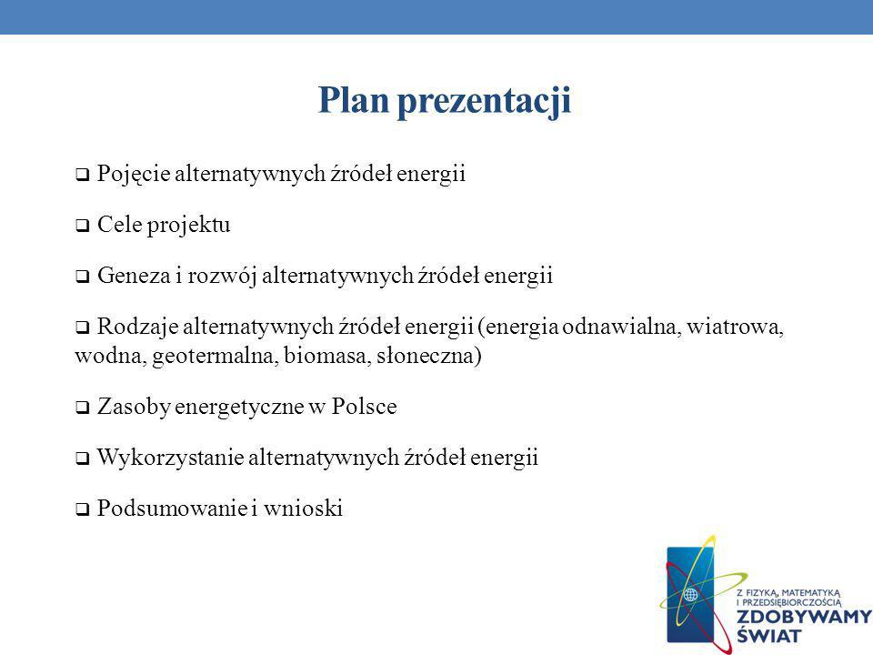 Plan prezentacji Pojęcie alternatywnych źródeł energii Cele projektu