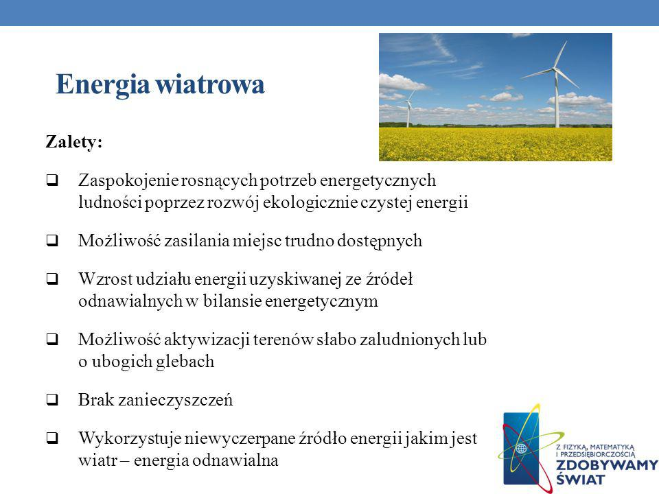 Energia wiatrowa Zalety: