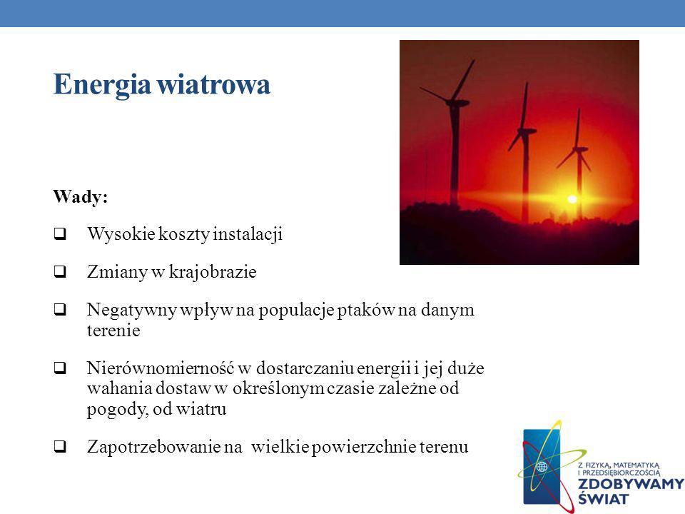 Energia wiatrowa Wady: Wysokie koszty instalacji Zmiany w krajobrazie
