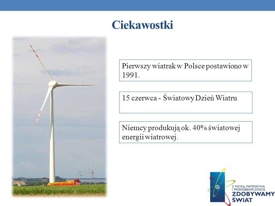 Ciekawostki Pierwszy wiatrak w Polsce postawiono w 1991.