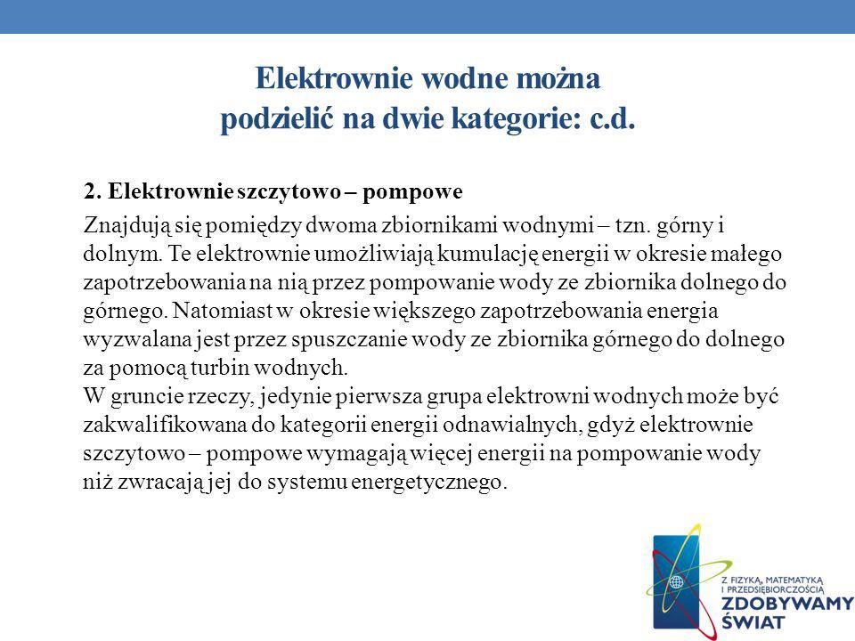 Elektrownie wodne można podzielić na dwie kategorie: c.d.