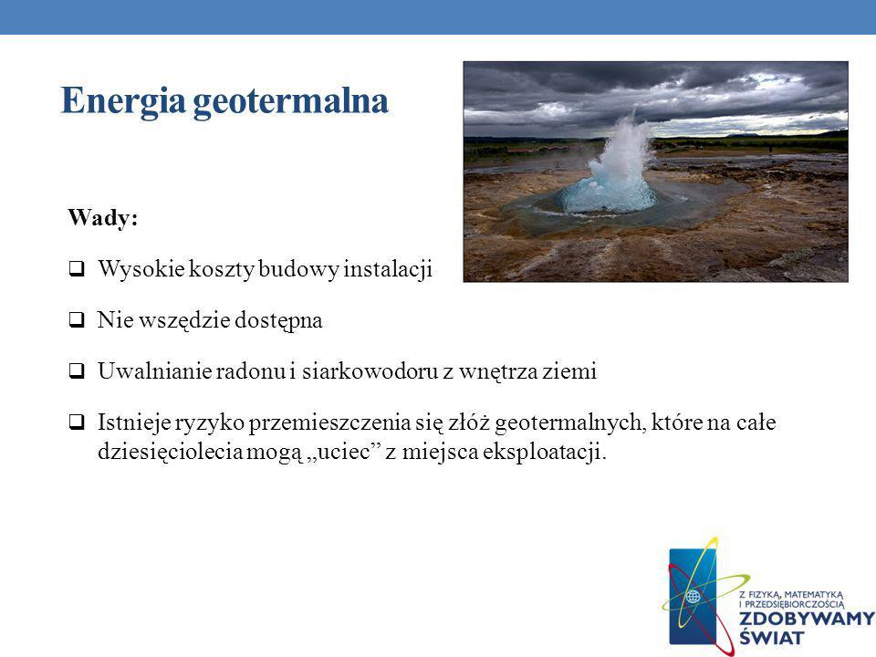 Energia geotermalna Wady: Wysokie koszty budowy instalacji