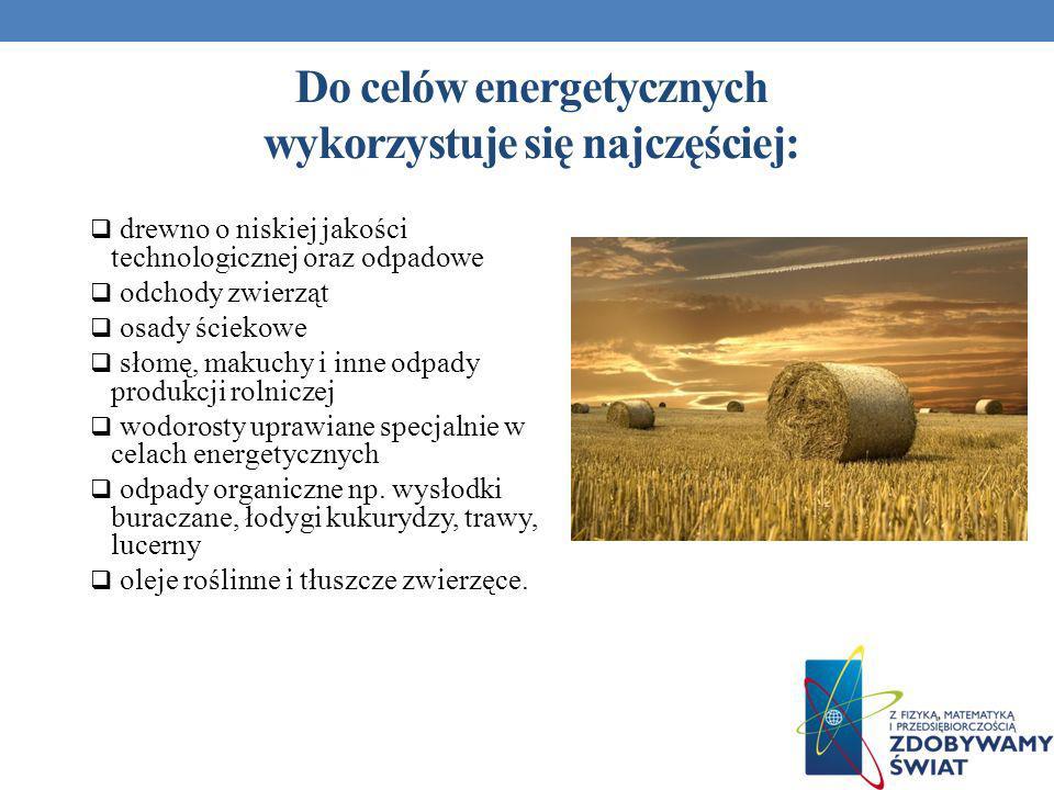 Do celów energetycznych wykorzystuje się najczęściej: