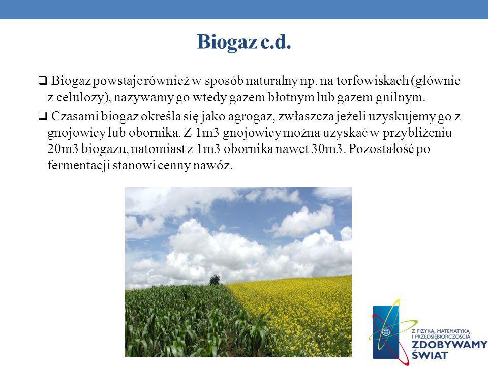 Biogaz c.d. Biogaz powstaje również w sposób naturalny np. na torfowiskach (głównie z celulozy), nazywamy go wtedy gazem błotnym lub gazem gnilnym.